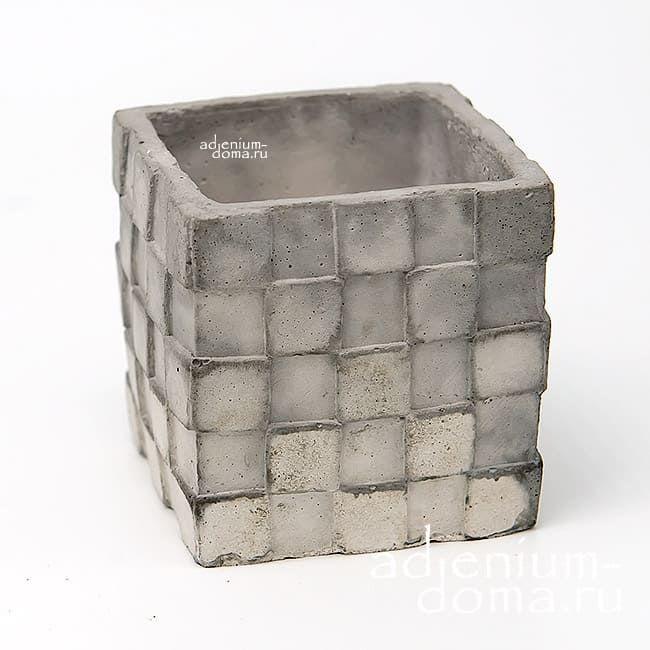 Горшок из бетона КУБ-ПЛЕТЕНКА 2
