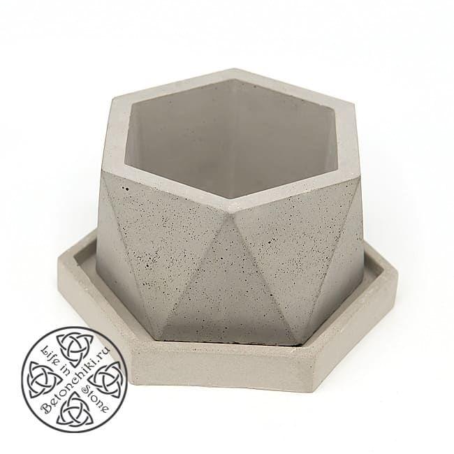 Горшок из бетона АНТИПРИЗМА ГЕКСА M 2